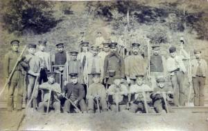"""Arbeiter an der Umgehungsbahn """"Berliner Kurve"""" um 1914"""
